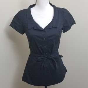 Zara Basic Button Down Blouse Tie Front Small